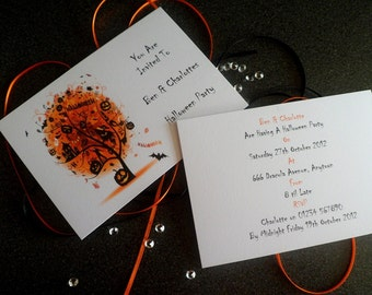 Handmade Personalised A6 Halloween Invitations