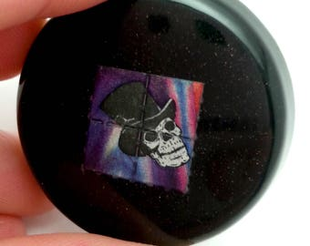Psychedelic Lapel Pin - Skull in Top Hat - LSD Blotter Art Pin - Large Circle - Trippy - Hippie - Festival Jewelry - Rave Jewelry