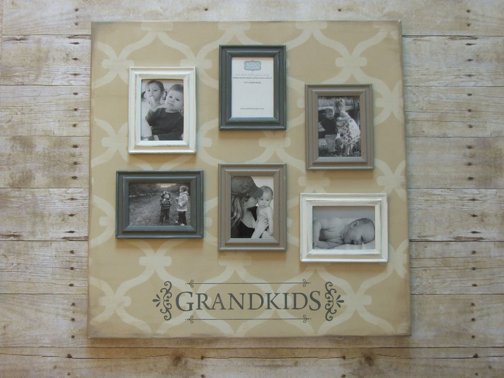 Grandkids photo frame collage. 24x24 inch magnetic canvas with | Etsy