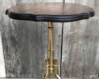 Vintage Brass Faux Bois Bamboo Pedestal Tripod Base Side Table w/ Wood Top 60s **FREE SHIP**