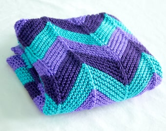 Knitted Silas's Chevron Baby Blanket
