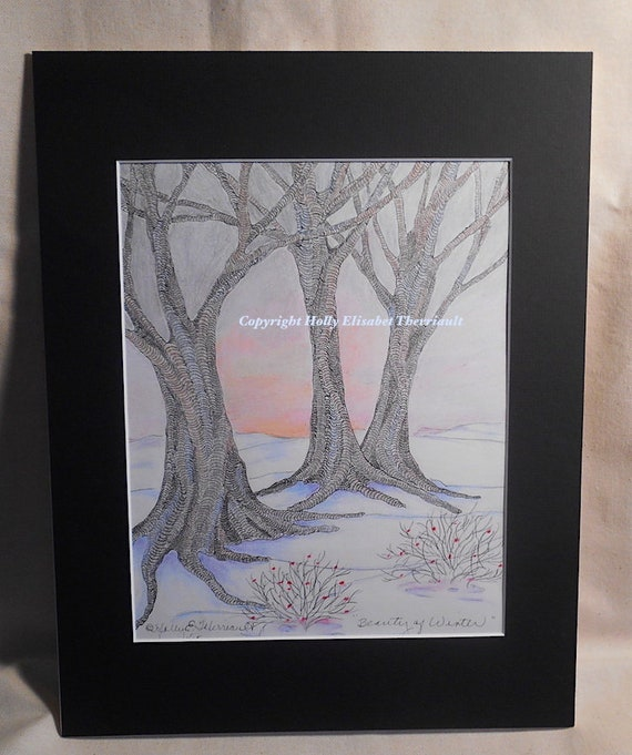 Pen Ink Oil Pastel and Colored Pencil Winter Original Matted Art, Mixed Media Matted Art of Winter
