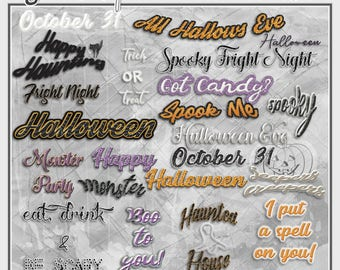 digital scrapbooking elementpack embellishments halloween sayings 27 halloween words instant download