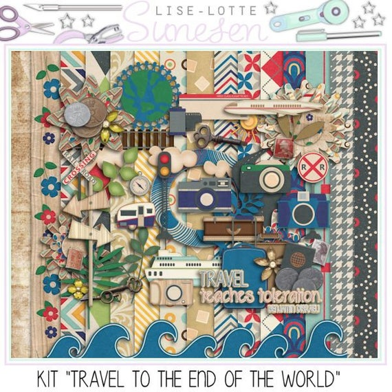 Digital Scrapbook Kit Travel Pattern Paper Vacation Etsy