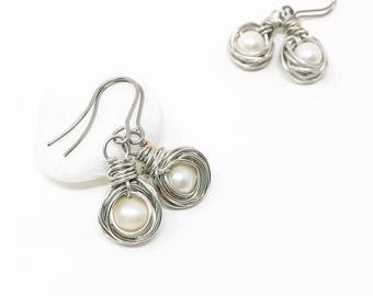 pearl earring silver white bird nest wire wrap earring handmade short natural silver pearl christian jewelry gift religion gift earring