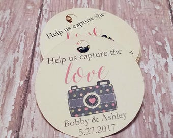 Help Us Capture the Love tags, disposable camera tags, wedding camera tags, bridal shower tag, baby shower tag, fun camera (C09)