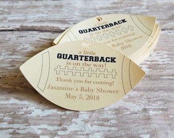 A little Quarterback is on the way, Vintage Football Tag, Football Baby Shower, Sports Baby Shower, Baby Shower Favor, Its a boy (197)