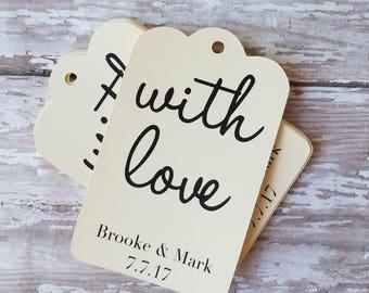 With Love Wedding Tag, Wedding Tag, Bridal Shower Tag, Gift Tag, Party Favor Tag, Wedding Favor Tag, Gift Tag, Bridal Shower Gift Tag (029)