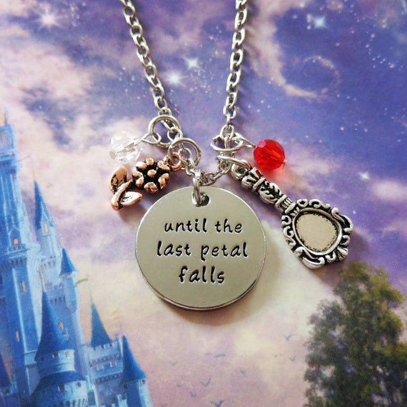 """Beauty and the Beast Pendant Necklace /""""Until The Last Petal Falls/""""  In Gift Bag"""