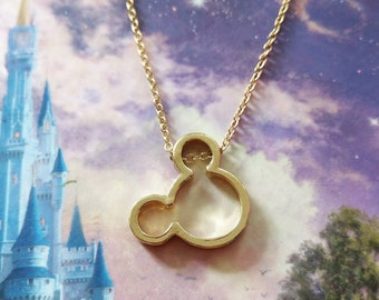 Mickey Mouse Necklace Gold Inspired Disney Necklace Gift/Wedding/Birthday