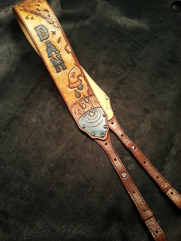 leather banjo strap custom designed with you functional art etsy. Black Bedroom Furniture Sets. Home Design Ideas