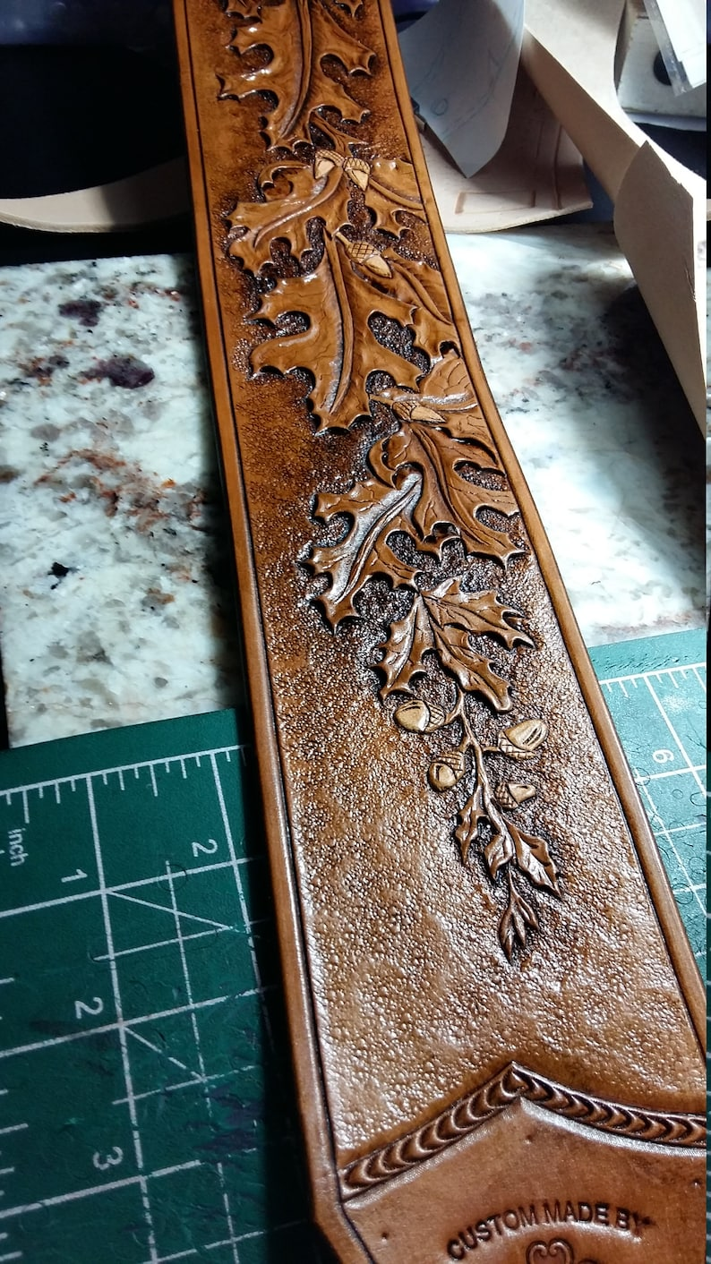 clbLeatherDesign Leather Custom Designed STRAP Oak Leaves and Personalized Acorns-Tree of Life,Tell Your story on this OneOfaKind strap