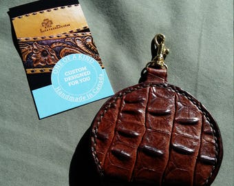 READY TO SHIP - Handy Alligator-like Leather Change Purse with Brass Swivel Hook - clbLeatherDesign