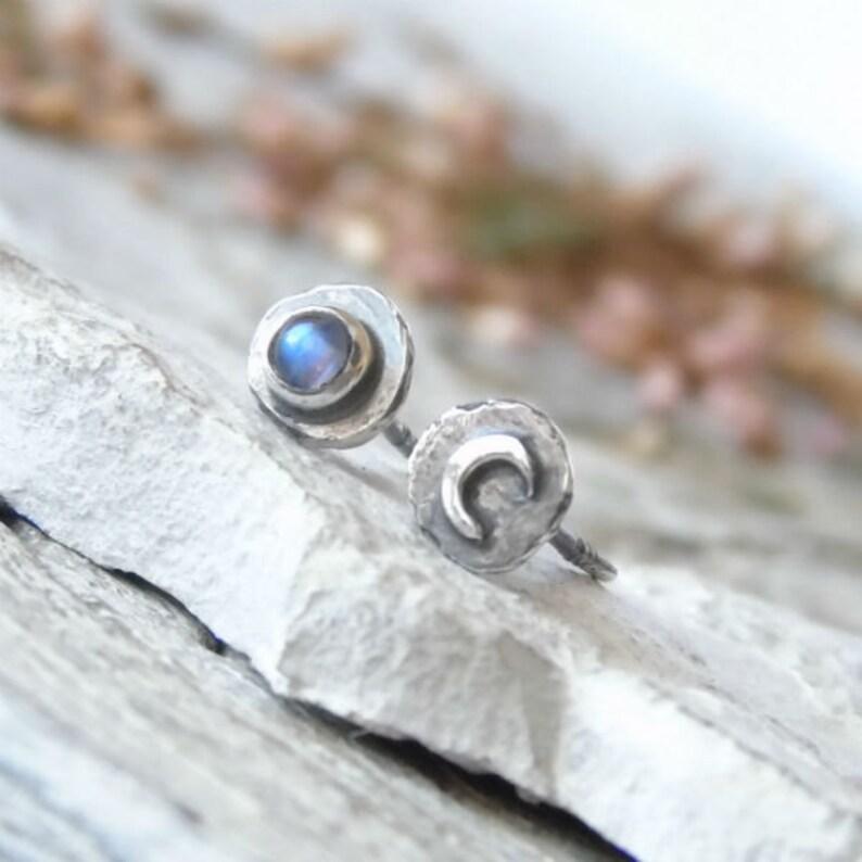 Mismatched Earrings Moon Phase Earrings Celestial Jewellery Moonstone Earrings Raw Oxidized Silver Studs Silver Moon Earrings