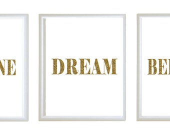 Set Of 3 Gold Glitter Word Quote Imagine Dream Etsy