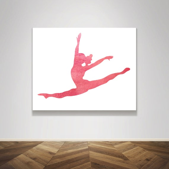 Pink blush watercolor gymnast dancer dance doing a split leap | etsy.