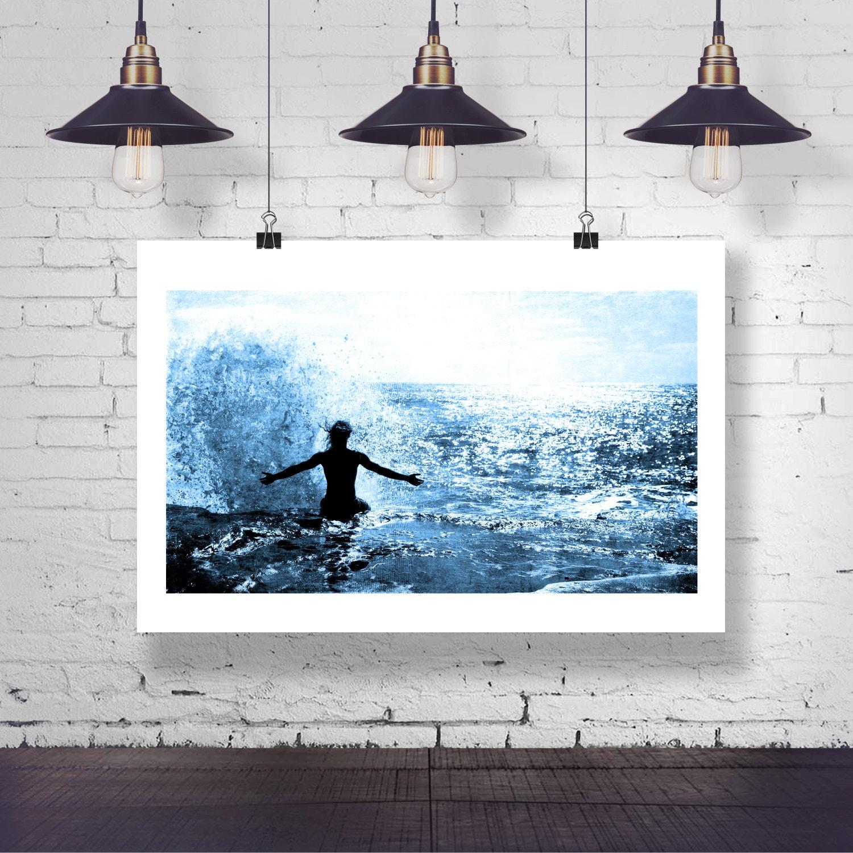 Fotografie Ozean-Flutwelle Mann auf Sunset Cliff Strand   Etsy