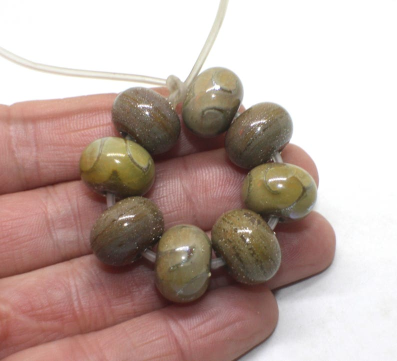 Silver Dots Canyon de Chelly Beige Sand Brown Glossy Opaque Handmade Lampwork Glass Wavy Rondelle Beads Set 8 Donut Beads 10 mm x 14 mm