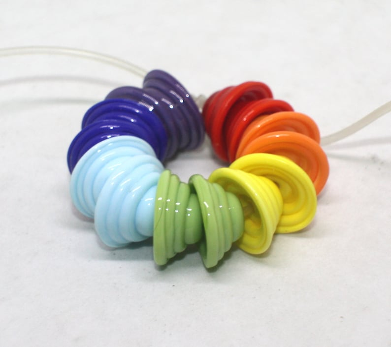 Opaque Glossy Handmade Lampwork Glass Wavy Beads Set 14 Spiral Cone Beads Red Orange Yellow Green Sky Blue Cobalt Purple Violet Rainbow