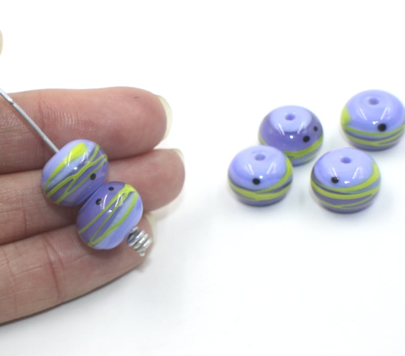 Opaque Glossy Beads 14mm Wisteria Violet Purple Blue Periwinkle Green Set 6 Donut Beads Handmade Lampwork Glass Beads