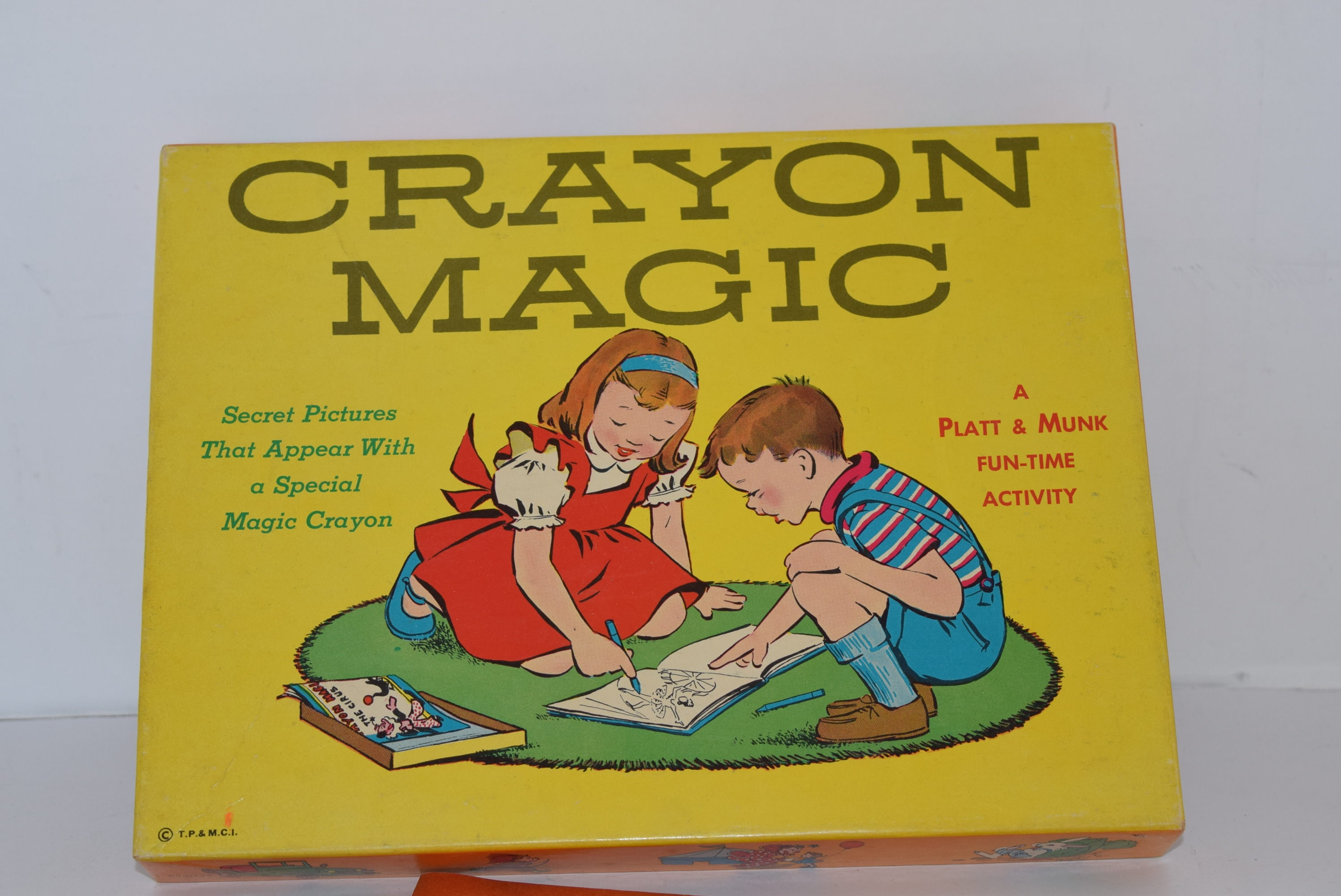Vintage 1959 Platt and Munks Co. Crayon Magic Coloring Books Set