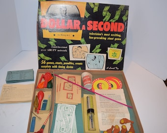 """Vintage 1950's Lowell Toy Co. """"Dollar-A-Minute"""" TV Show Board Game."""
