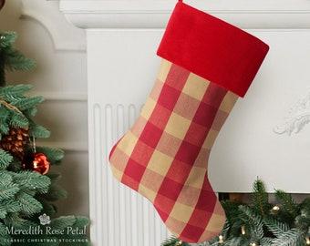 red and gold check christmas stocking buffalo check christmas stocking french country christmas stocking - Country Christmas Stockings