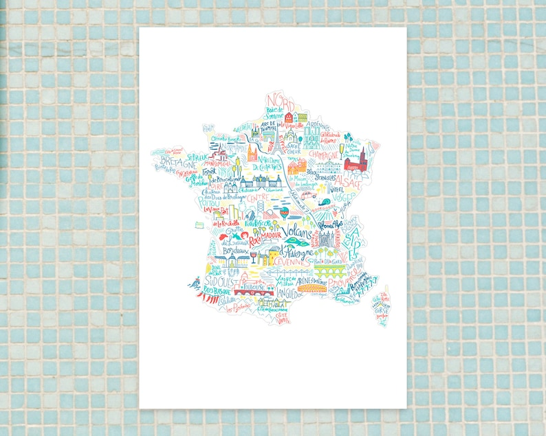 French monuments map travel print art for traveler France map image 0