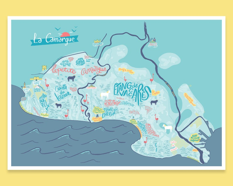 Camargue Karte.Map Of The Camargue Gift Decoration Poster For Traveler Or Lovers Of The Camargue And The Mediterranean Sea