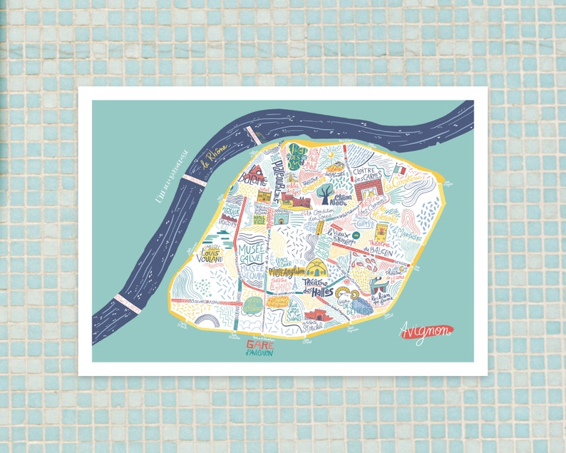 Poster  Map d'Avignon decorative gift poster for image 0