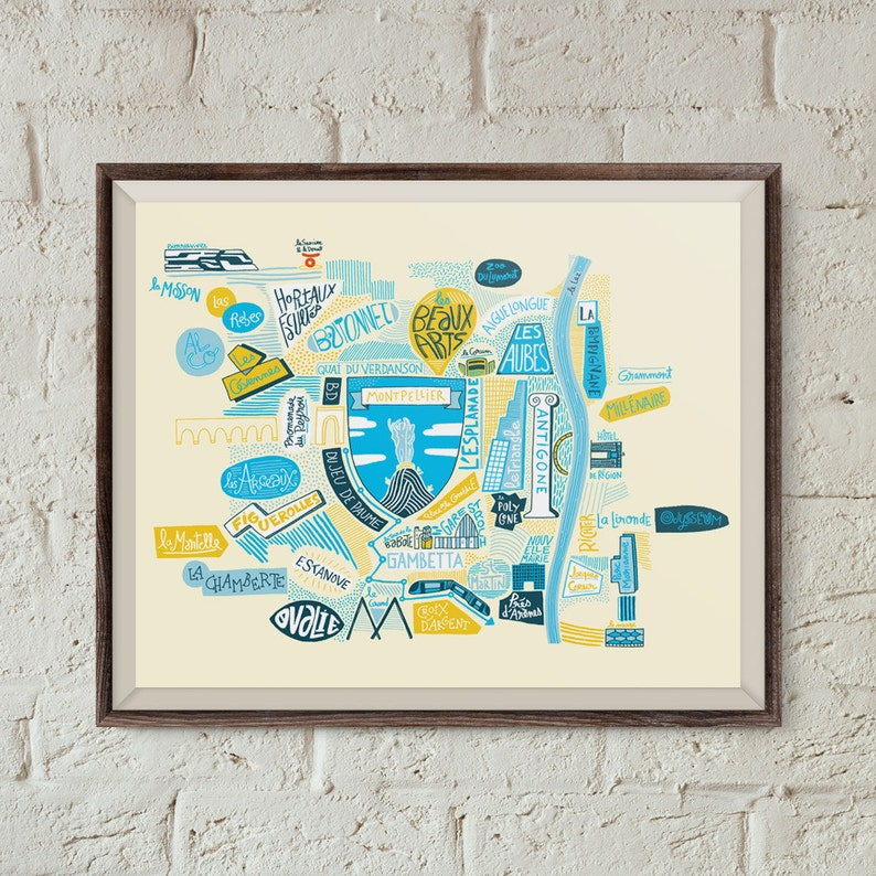 South Of France Cities Map.Montpellier Poster South Of France Map Wall Decoration Handlettering City Map Print Art Travel Poster Poster