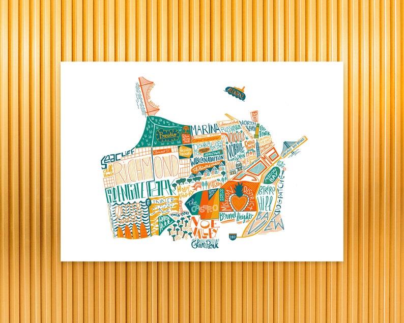 San Francisco city map fine art print wall art San Francisco image 0