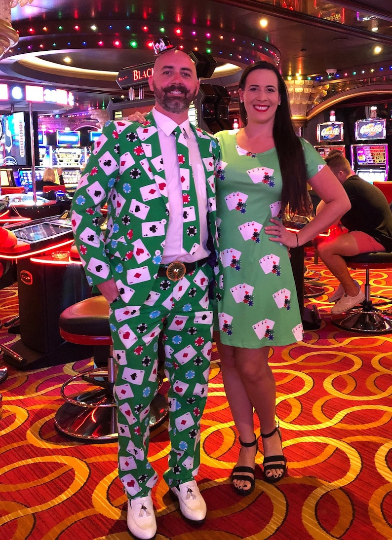 Vegas Poker Print Short Sleeve Dress