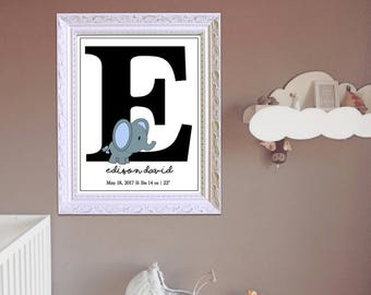 Elephant Nursery Wall Art, Birth Announcement, Personalized Baby Art,  Baby Name Art, Nursery Decor Digital Print, Unlimited DIY Printing