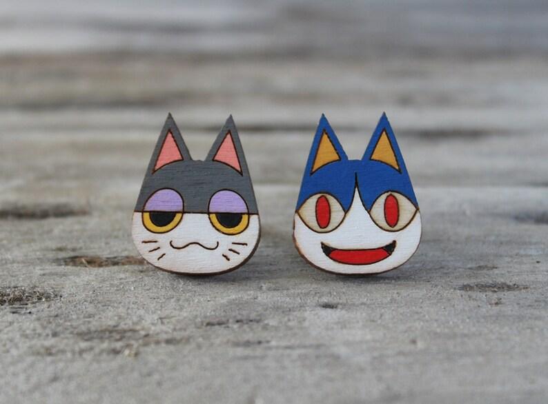 Animal Crossing Cat Painted Laser Cut Wood Stud Earrings - Rover & Punchy