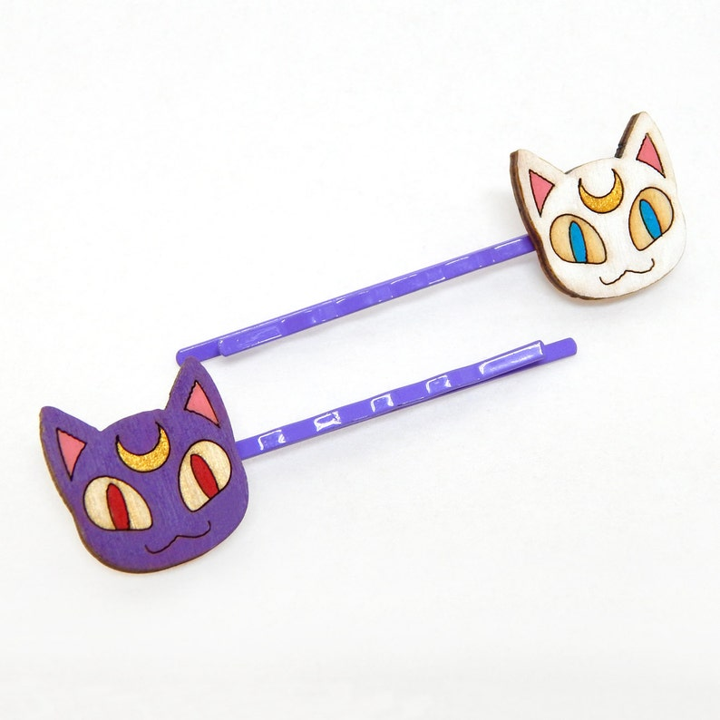 Sailor Cats Sailor Moon's Luna & Artemis Bobby Pin Set image 0