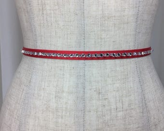 Red Holiday Rhinestone Sash Belts,Holiday Collection Belts,Rhinestone Skinny Sash,Holiday Wedding Sash,Holiday Party Sash Belt.
