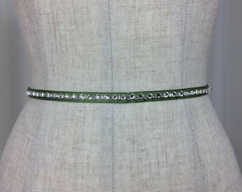 Green Rhinestone Sash Belts,Holiday Collection Belts,Rhinestone Skinny Sash,Holiday Wedding Sash,Holiday Party Sash Belt.