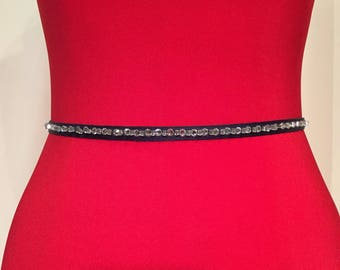 NAVY Rhinestone Sash Belt,Bridesmaid Sash Belt,NAVY Rhinestone Skinny Sash, Wedding Sash,Holiday Party Sash Belt.