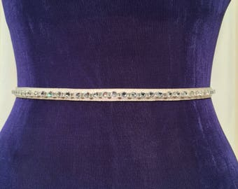 Rhinestone Sash Belt,Bridesmaid Sash Belt,PLATINUM/OATMEAL Rhinestone Skinny Sash, Wedding Sash,Holiday Party Sash Belt.