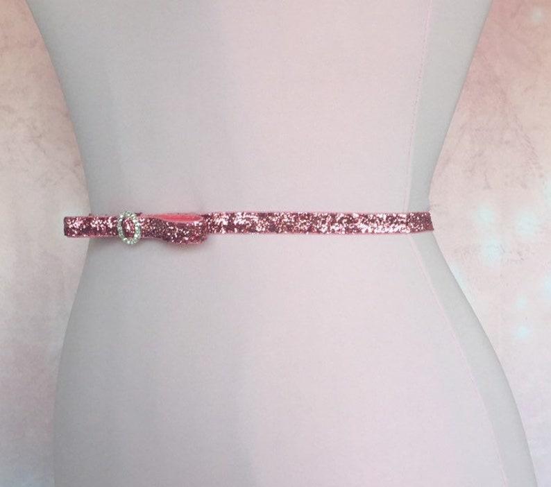 Pink Bow Belt,Rhinestone Bridal Stretch Belt,Glitter Belt,Thin Dress Belt Wedding Skinny Elastic belt Bridesmaid Belt.