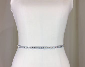 SILVER Rhinestone Sash Belt,Bridesmaid Sash Belt, Silver Rhinestone Skinny Sash, Wedding Sash,Holiday Party Sash Belt.