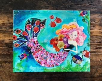 Mermaid Gallery Wrap Canvas. Mermaid Art Decor. Beach Art. Kids Room Decor. Perfect Gift.