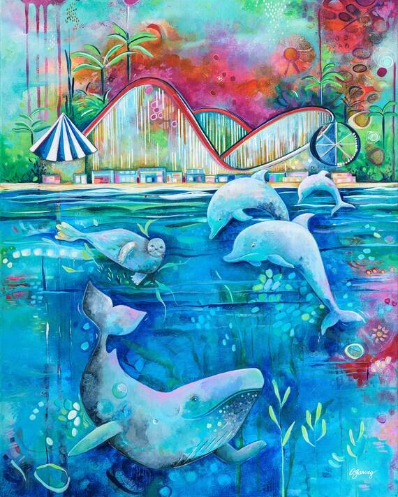 Santa Cruz Boardwalk Art Print Wall Decor Humpback Whales Sealife Dolphins Room Decor Holiday Gift