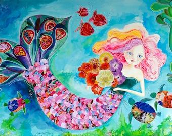 Mermaid Art Print. Giclee. Mermaid Wall Decor. Girls Room Art. Whimsical Mermaid. Beach Art.
