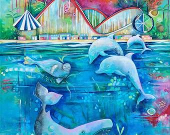 Beach Boardwalk Gallery Wrap Canvas. Santa Cruz. Beach Decor. Kids Room. Ocean Art. Perfect Gift.