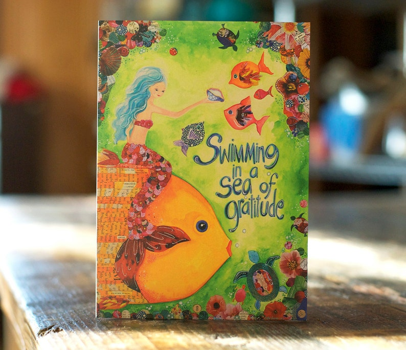 Thank You Card  Mermaid Card  Blank Inside  Gratitude Card  Watercolor  Print