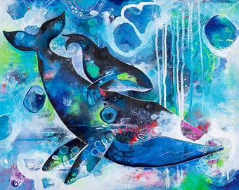 Humpback Whales Gallery Wrap Canvas. Santa Cruz. Whale Art Decor. Nursery Room. Kids Room Art.