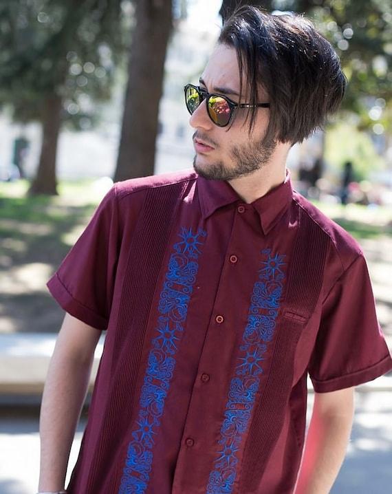 Handmade in Yucatan Mexico Y.A.Bera Clothing Mens Guayabera Shirt Lux Black Linen Short Sleeve with White Stars Artwork