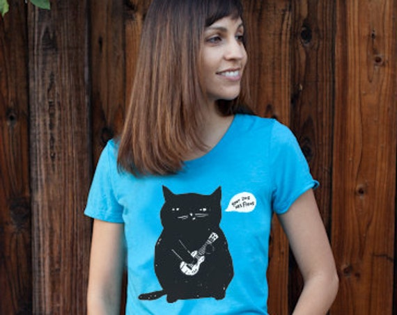 Ukulele T-shirt - Ukulele Cat t-shirt - Women's Cat t-shirt - Aqua Triblend - Slim/Junior Fitted and Responsibly Sourced T-Shirt